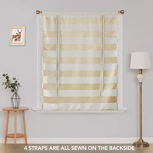 Deconovo Room Darkening Curtain Pattern Striped Curtains Rod Pocket Light Blocking Curtain Short Curtain for Small Window 46W X 63L Champagne and Greyish White 1 Panel