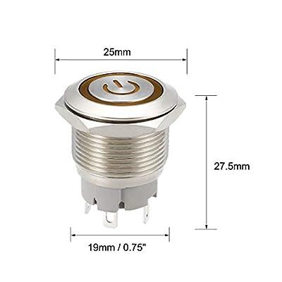uxcell Latching Metal Push Button Switch 19mm Mounting Dia 1NO 24V Yellow LED Light 1pcs: Automotive