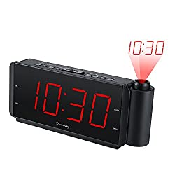 DreamSky Projection Alarm Clock Radio with USB Charging Port and FM Radio, 2 Large Led Numbers Display with Dimmer, Adjustable Alarm Volume, Snooze, Battery Backup, DST Button, Sleep Timer