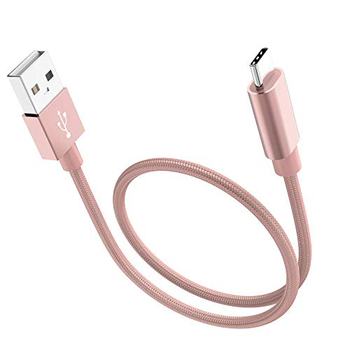 SUMOON Type C Cable, 3 Pack 1FT Short Charging Cord Nylon Braided USB Type C Cable for Galaxy S8, S8 Plus, Google Pixel/Pixel XL, Nexus 6p/5X, LG G6, ZTE Zmax Pro Z981, HTC 10 and More (Rosegold)