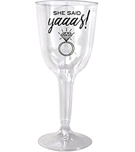 SHE SAID YAAAS Disposable Wine Glasses - 20 PACK - Bachelorette Party, Engagement, Wedding, Bridal Shower Plastic Party Cups