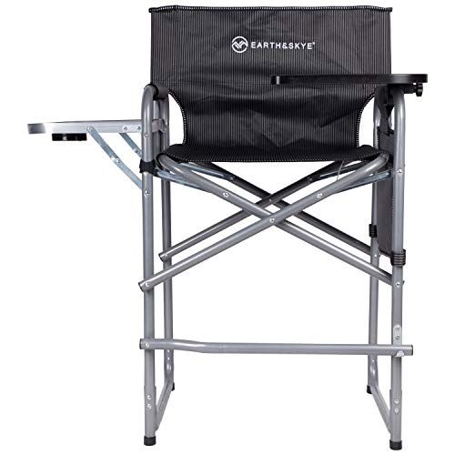EARTH&SKYE Tall Directors Chair Folding Director Chair or Makeup Chair for Artists Portable | Durable Steel Frame with Oxford Fabric - Supports 300 lbs