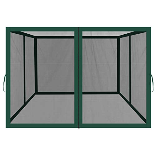 BenefitUSA Replacement Mosquito Netting for 10' x 10' or 8' x 8' Gazebo, Zippered Mesh Sidewalls Only, Pack of 4 (10' L X 6.4' W for 10' x 10' Gazebo, Green)
