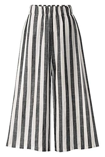 Chartou Women's Casual Striped High-Waist Wide-Leg Cotton Lightweight Palazzo Capri Culotte Pants (Black, -