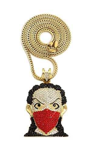 NYFASHION101 Stone Stud Ninja Red Mask Man Pendant with 4mm 36