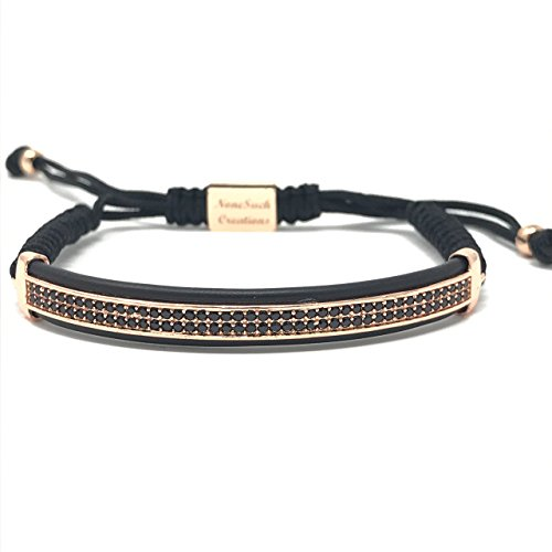Nonesuch Creations Double Row Pave ID Macrame bracelet (Rose Gold)