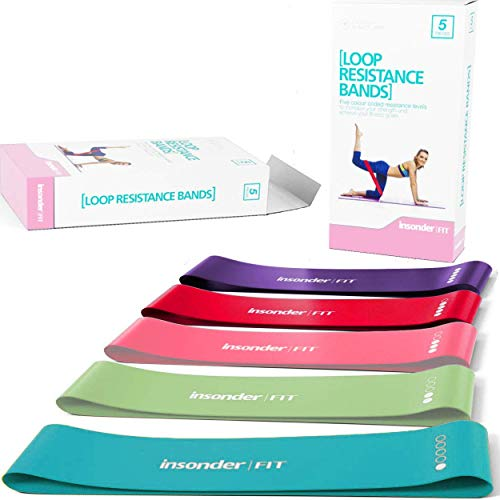 Insonder Resistance Bands Set - 5 Latex Exercise Loop Bands for Workout and Stretching for Legs Butt Glutes Yoga Crossfit Fitness Physical Therapy Mini Home Equipment Training for Women Men (Best Way To Work Out Legs)