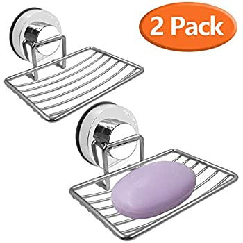 Attmu 2 Pack Vacumn Soap Dish Holder /& Suction Cup Hooks Shower 2