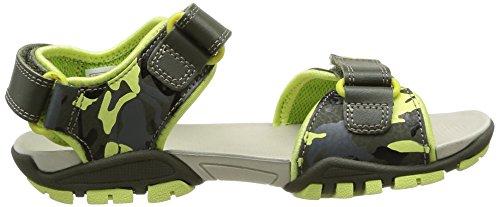 Clarks Zalmo Go Inf - sandalias abiertas de cuero niño verde - Grün (Khaki Combi Lea)