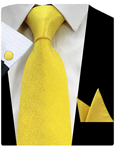 GUSLESON Yellow Solid Silk Tie Pure Color Necktie Set Mens Wedding Tie (0727-12)