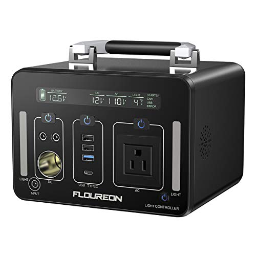 floureon Power Station Generator Power Supply 140400mAh 500Wh Battery Adoption 1500 Times Charge Discharge Cycle, AC Pure sine Wave 250W DC USB QC3.0 Output Type-C PD60W Output for Outdoors