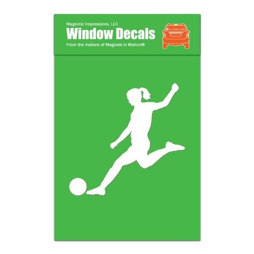 Soccer Player Female Car Window Decal White