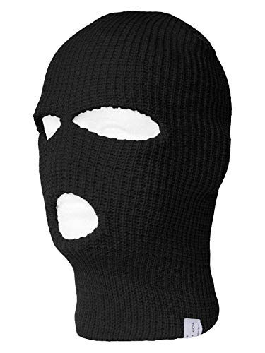 TopHeadwear 3-Hole Ski Face Mask Balaclava, Black]()