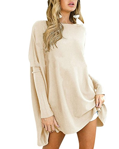 Haut Mini Robe Longues Large Tunique Abricot Manches Top Blouse Femme Pullover Casual Pull wqxPvIUY