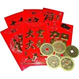 Lucky Money Red Envelopes with Coins - Set of 6