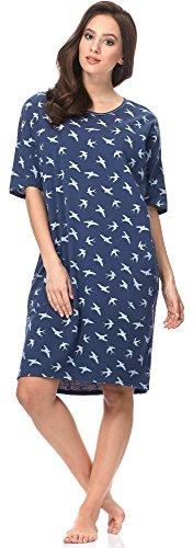Italian Fashion IF Camisón para Mujer Cleo 0114 Azul Oscuro/Blanco