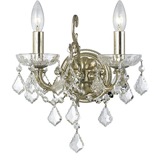Crystorama 5282-OS-CL-SAQ Transitional Two Light Wall Sconce from Highland Park collection in Pwt, Nckl, B/S, ()