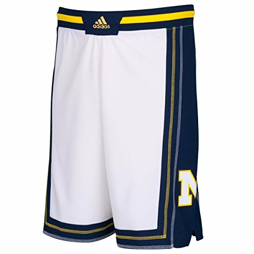 adidas Michigan Wolverines Youth Classic Replica Basketball Shorts - White, Youth Large