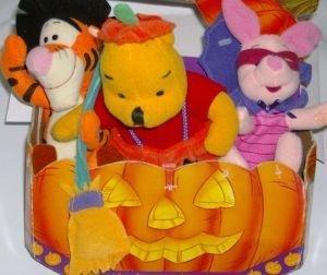 Winnie the Pooh Halloween Plush Set Pooh Piglet & Tigger in Costumes