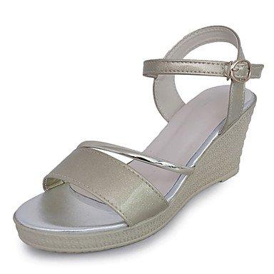 YFF Sandales femmes Confort d'été occasionnels de PU Boucle Talon,or,US6 / EU36 / UK4 / CN36