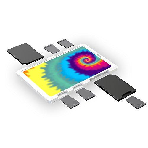 DiMeCard-SD: SD + microSD Memory Card Holder Case WHITE TIE-DYE (credit card size holder, writable label) (Raspberry Pi 2 Sim Card)