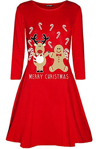 - Be Jealous Womens Ladies Christmas Reindeer Gingerbread Candystick Xmas Flared Swing Dress