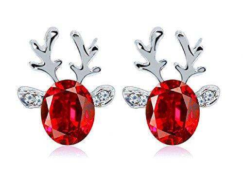 Zhiwen Silver Plated Crystal Antlers Earring Christmas Reindeer Antlers Earing Xmas Crystal Gemstone Earrings (Red)