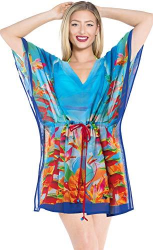 LA LEELA Women's Maternity Beach Dress Cover Up for Swimwear US 16-28W Blue_I770