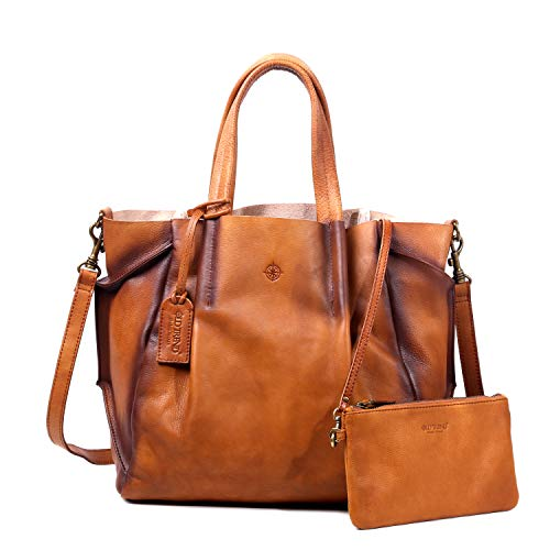 OLD TREND Sprout Land Hand Painted Genuine Leather Tote With Clutch (Chestnut)