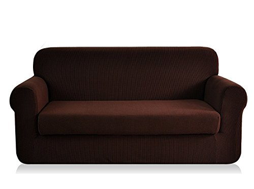 CHUN YI Jacquard Sofa Covers 2-Piece Stretch Polyester Spandex Fabric Couch Slipcover, 3 Seater Sofa Protector (Sofa, Chocolate) (3 Seater 2 Seater)
