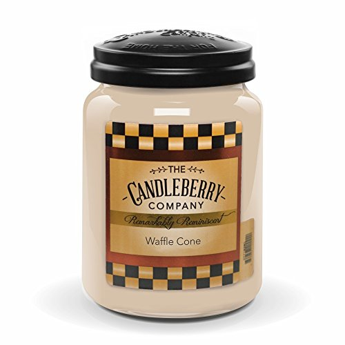 Candleberry WAFFLE CONE, Fine Fragrance Candle For The Home, Large Glass Jar, 26 oz (Candles Cone)