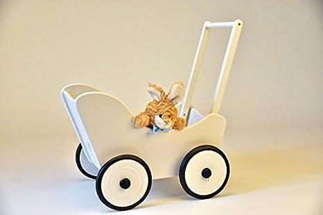 Colour blanco de madera Suabia Kids carrito para muñeco + freno + textil tacatá con forma de carrito para muñeco andador