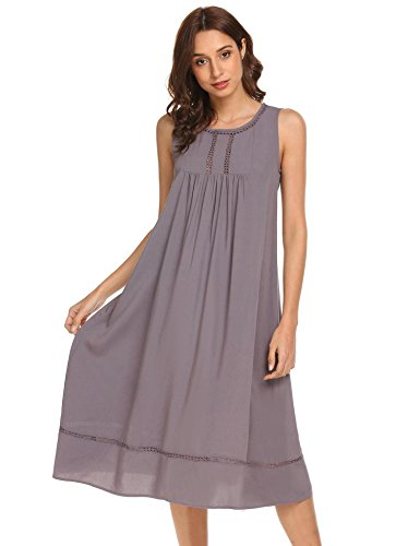 Langle Cotton Vintage Nightgown Womens Sleeveless Victorian Sleepwear (Purple Grey, Large) (Lined Sleeveless Jersey)