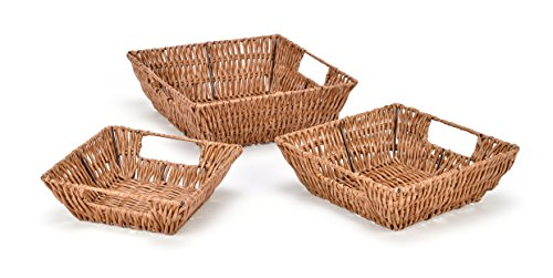 Trademark Innovations Set of 3 Square Wicker Look Baskets With Built In Handles for $<!--$13.99-->