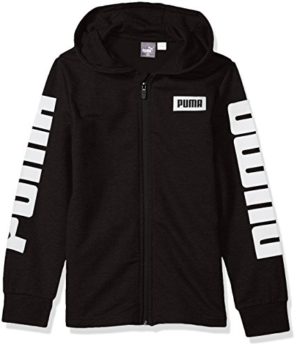 Full Screen Print Zip Sweatshirt (PUMA Little Boys' Rebel Full Zip Hoodie, Black, 5)
