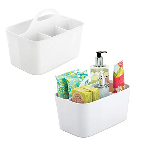 mDesign Plastic Portable Storage Organizer Utility Caddy Tote, Divided Basket Bin with Handle, for Bathroom, Dorm Room - Holds Hand Soap, Body Wash, Shampoo, Conditioner, Lotion, Small, 2 Pack - White