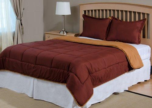 Reversible Mini Bed Set - 3 Piece - Chocolate Brown / Cashew Beige - Queen (Bed Cashew)