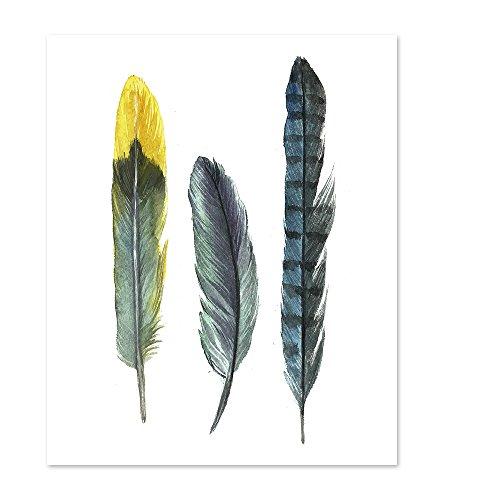 Feather art #A114 -colorful art poster(8x10).Wall art. Feather pictures.bedroom wall art.Feather Wall art.Painted feathers.feather painting.Feather wall decor. ()
