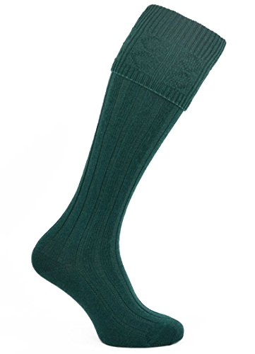(Mens Bottle Green Wool Morvern Kilt Socks)