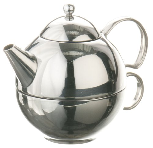 (G&H Tea Services Henley 9.7-Ounce Stainless Steel Loose Tea Teapot and Tea-Cup Mirror Finish)