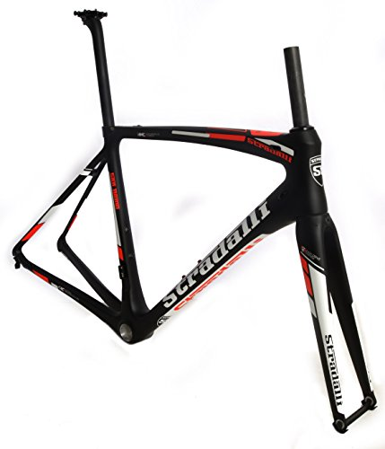 Stradalli San Remo Full Carbon Road Bicycle Racing Frameset Frame Blaze Fluorescent Red and White Graphics. BB30 …
