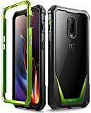 OnePlus 6T Case, Poetic Guardian [Scratch Resistant Back] [Built-in-Screen Protector] Full-Body Rugged Clear Hybrid Bumper Case for OnePlus 6T (2018) - Green