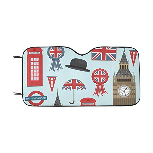 (INTERESTPRINT Collection of United Kingdom Themed Windshield Sun Shades Block UV, Protect Your Car from Sun Heat)