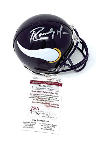 - Randy Moss Minnesota Vikings Signed Autograph Throwback Mini Helmet JSA Witnessed Certified