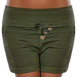 Duseedik Womens Work Shorts Fashion Summer Hot Pants Capri High Waist Elastic Band Bandage Pants Trousers Army Green