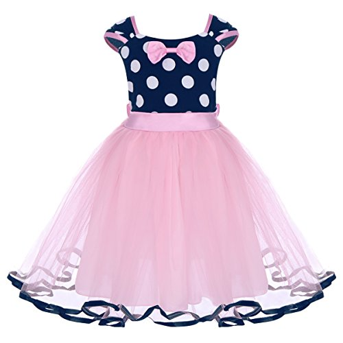 Minnie Costume Baby Girl Tutu Dress Mouse Ear Headband Polka Dot First Birthday Halloween Fancy Dress up Princess Outfits Z# Pink+Navy(C) 2-3 Years
