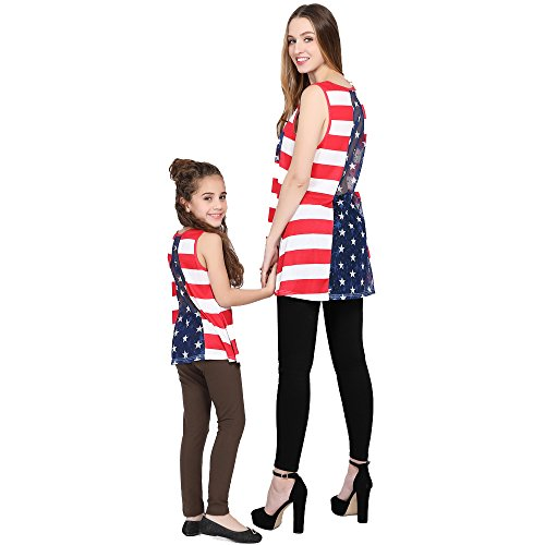 L-fannitily 2018 Family Matching American Flag Lace Pocket Stripe Back Lace Top Coat Fashion T-Shirts (10T) by L-fannitily (Image #2)