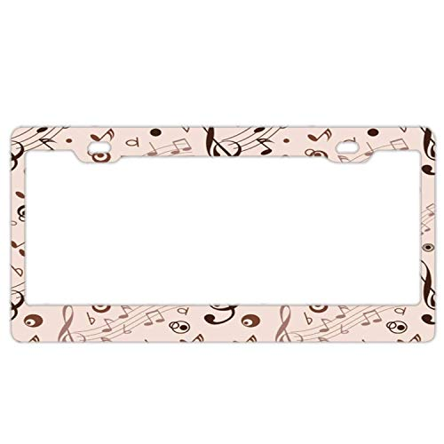 Hopes's Cool License Plate Frame, 2 Holes License Plate Cover for Girls, Car Plate Frame for US - Piano Notes