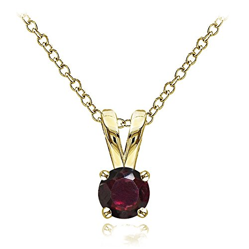Ice Gems Yellow Gold Flashed Sterling Silver Garnet 5mm Round Solitaire Necklace ()