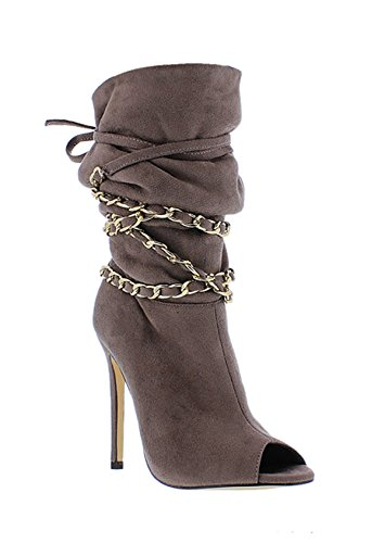 Liliana Peep Toe Slouchy Booties w/Chain Straps Undercover Taupe 7ZZDn3